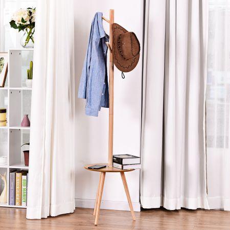 Costway Porte-Manteau en Bois avec 4 Crochets Portemanteaux avec Table pour Ranger Vestes Manteaux Chapeaux 40X40X161,5CM