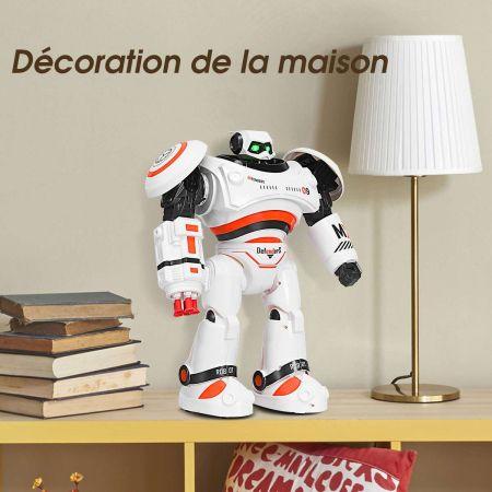 Costway Robot Télécommandé 2.4G de Combat avec 8 Balles Fonctions : Marche Glisse Danse Programmation pour Enfants 6+Ans Orange