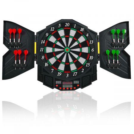 Costway Cible de Fléchettes électronique écran LED Disque de Fléchettes 12 pcs pour 8 joueurs maximum 90+