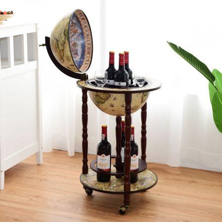 Costway Bar Globe Terrestre Mappemonde en Bois d'Eucalyptus 44,3x44,3x88cm Style Classique du 16e Siècle