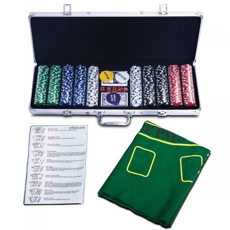 Costway Coffret de Poker avec 500 Jetons Mallette de Poker en Aluminium avec Vérrouillare pour 2 à 4 Joueurs