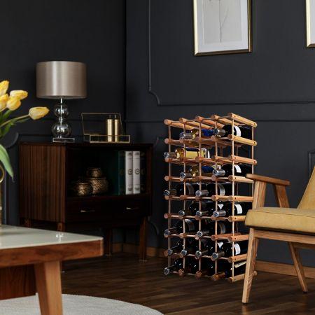Costway Casier à Bouteille Etagère à Vin Couleur Nature Modulable 102,5 x 24 x 33 cm en Bois de Pin