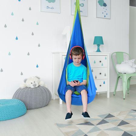 Costway Hamac Enfant Siège Chaise Suspendu pour Enfant Charge Max 80KG Bleu en Toile de Haute Qualité Comfortable