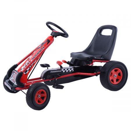 Kart à Pédales pour Enfant à l'Extérieur Jouet avec Siège Ajustable 4 Roules Rouge