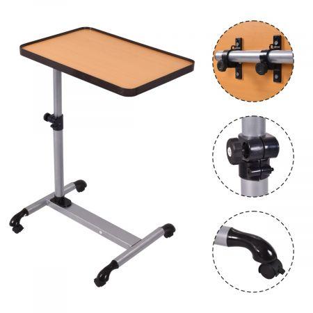 Costway Table d'Ordinateur Portable Table de Lit Hauteur / Angle Réglable à Roulettes  58-90 cm  Idéal pour Petit Chambre
