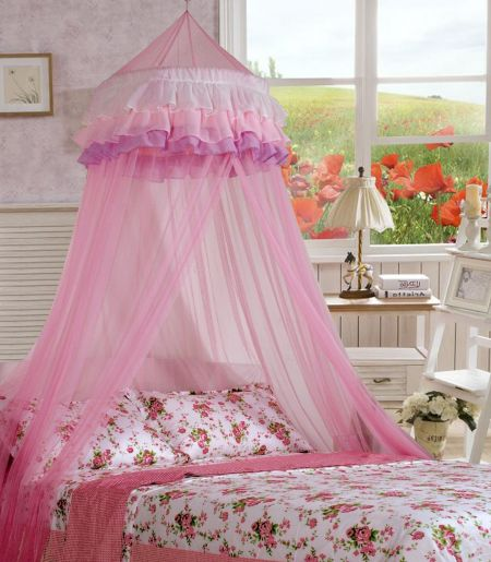 Ciel de lit moustiquaire d'enfant dôme dentelle Protection insectes rosé romantique neuf
