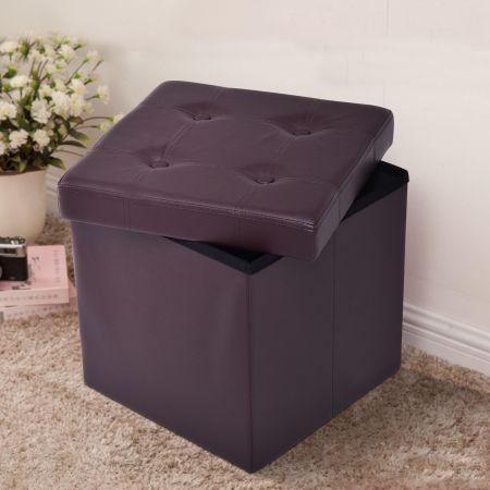 Tabouret de Cube Pouf Pliable Banc Coffre Rangement Boîte de Rangement Conservation Brun