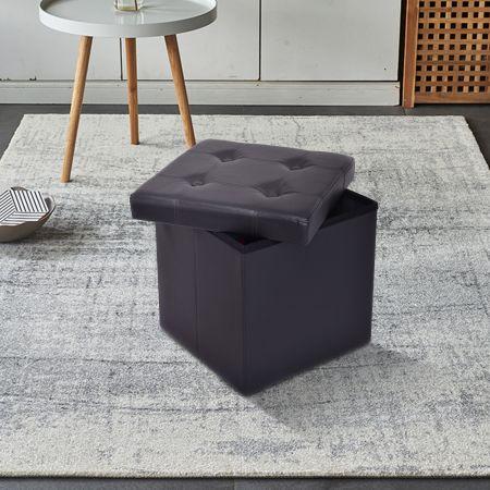 Tabouret de Cube Pouf Pliable Banc Coffre Rangement Boîte de Rangement Conservation Noir