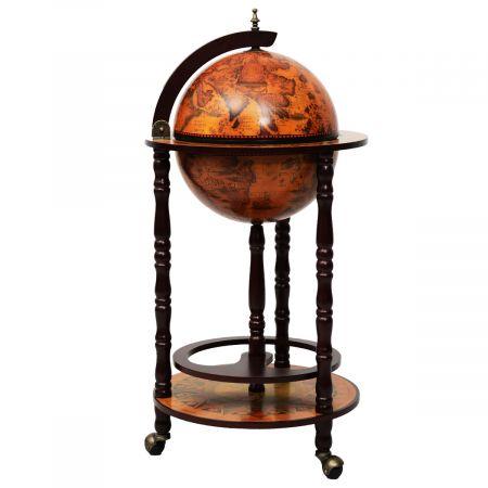 Costway Véritable Rangement Vin en Bois Rack/Cabinet globe italien du 16e siècle avec 3 pieds