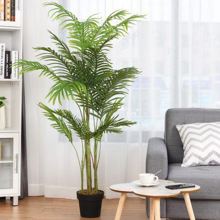 COSTWAY Plante Artificielle Faux Arbre 150cm avec Pot Décoration Intérieur ou Extérieur Palmier Aréca Vert
