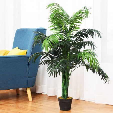 COSTWAY Plante Artificielle Faux Arbre avec Pot Décoration Intérieur ou Extérieur Palmier Aréca Vert Hauteur 110cm