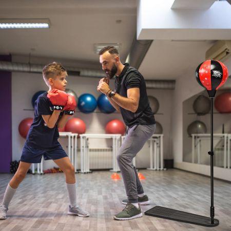 Costway Punchingball pour Enfant avec Hauteur Adjustable 85-130CM Pompe et Gants de Boxe Inclus