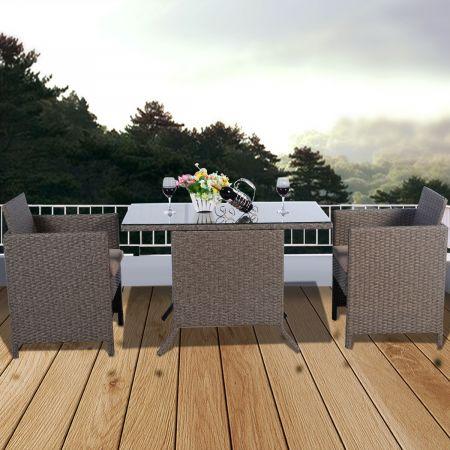 Costway Salon de Jardin 2 Places en Résine Tressée - 1 Table avec 2 Chaises – Marron