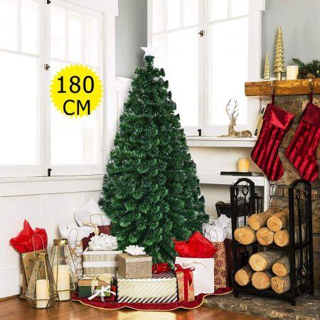 Costway 180cm Sapin de Noël Artificiel LED Lumineux 230 Branches Lumière à Variation de 6 Couleurs avec Etoile à la Cime