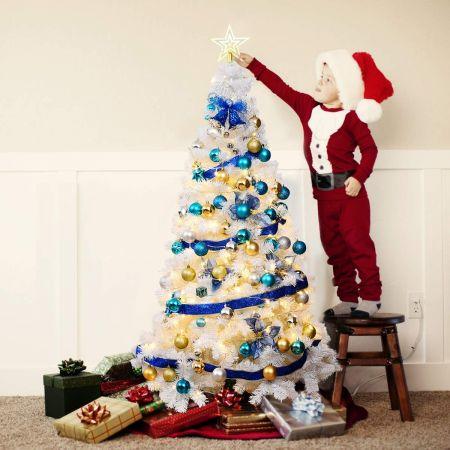 Costway Sapin de Noël Artificiel Matériau PVC avec Pied en Métal 240cm Blanc Idéal pour Atmosphère Festive