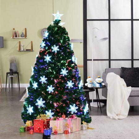 Costway 180cm Sapin de Noël Artificiel LED Lumineux 230 Branches Lumière à Variation de Couleurs avec Etoile à la Cime et Flocons de Neige