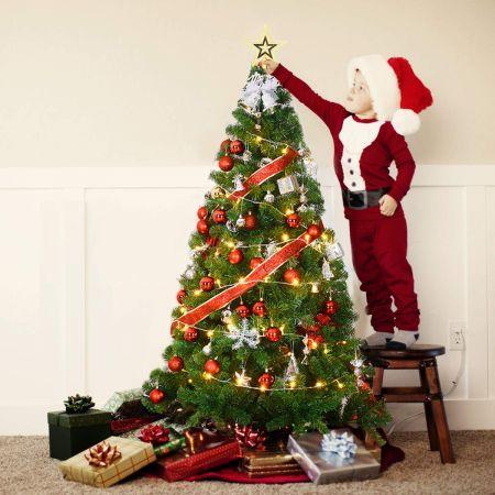 Costway Sapin de Noël Artificiel Matériau PVC avec Pied en Métal 240 CM d'Excellente Stabilité Peu Encombrant