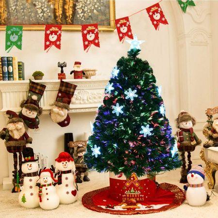 Costway 120cm Sapin de Noël Artificiel LED Lumineux 135 Branches Lumière à Variation de Couleurs avec Etoile à la Cime et Flocons de Neige