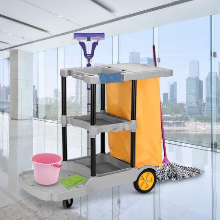 Chariot de Nettoyage Avec Sac Poubelle 4 Rouleaux avec 3 Plateaux pour Hôtel Restaurant