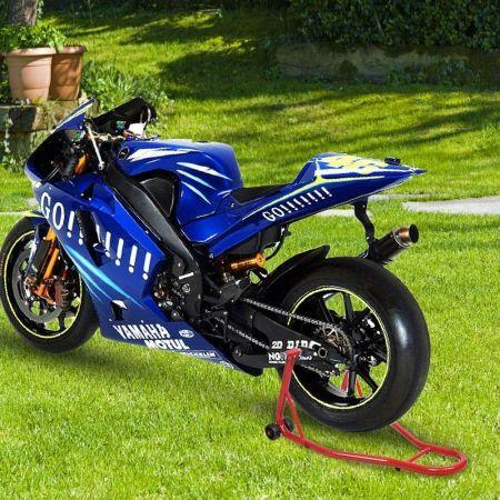 Costway Béquille d'Atelier Lève Moto Support de Roue Paddock Moto avec Bras Réglable Noir/Rouge