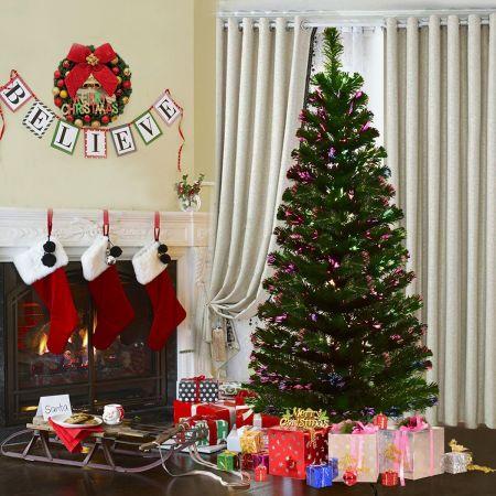 Costway Sapin de Noël Artificiel avec Lumières LED et Pied en Plastique Matériau PVC 180 cm