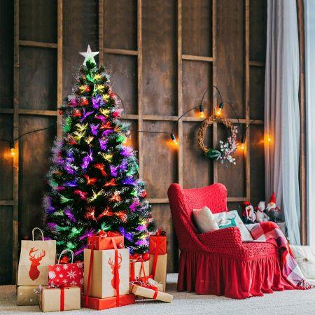 Costway Sapin de Noël Artificiel avec Lumières LED et Pied en Métal Matériau PVC 210 cm