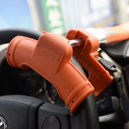Costway Canne Antivol Bloque-Volant Barre Pour Sécurité Auto Voiture Facile à Installer avec Clé Orange