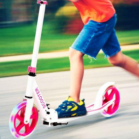 Costway Trottinette Sport avec Plateau en Aluminium Poignée Ajustable pour les Enfants de 10 ans et plus Rose