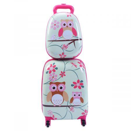 Costway Valise Enfant+ Sac à Dos Bagage Trolley à Roulettes pour Enfant Motif Hibou en ABS Robuste