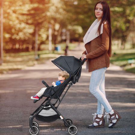 Costway Poussette Bébé Enfant 4 Roues Combiné 2 en 1 Pliable Ultra Compacte Landau Couleur de l'Encre