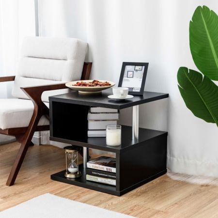 Table basse  avec porte-revues intégré  Noir Moderne multifonctionnelle pour Bureau