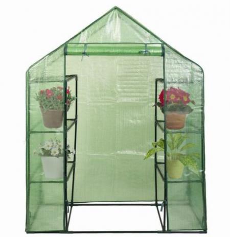 Costway Serre de Jardin avec Couverture en PVC 143x73x195cm Anti-UV et Résistant aux Intempéries Serre à Tomates Tente de Plante 4 étage