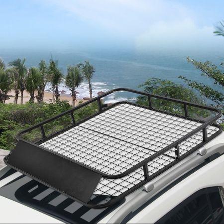 Costway Porte-Bagages de Toit pour Voiture en Métal 122,5x102CM avec Déflecteur d'Air Capacité 75 KG Noir Accessoires Automobiles