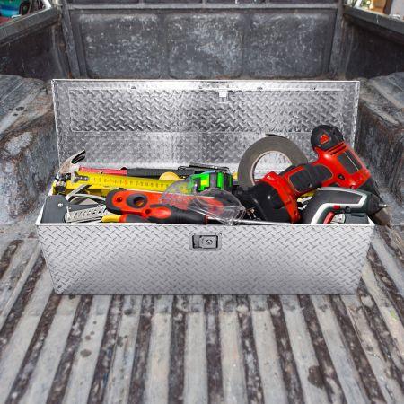 Costway Boîte à Outils Rangement Outils en Aluminium avec 2 Clés Verrouillable 2 Poignées 123x38x38CM en Métal