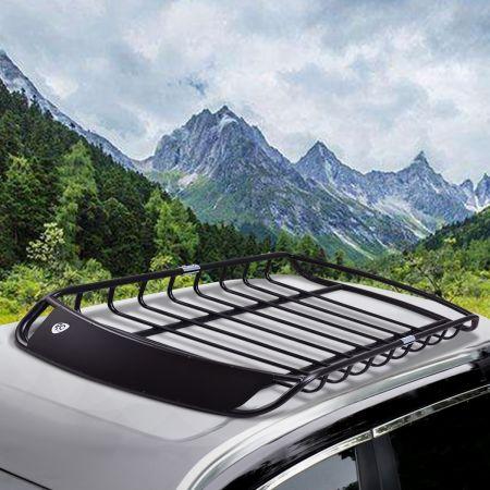 Costway Porte-Bagages en Métal de Haute Résistantce Barre Support Auto Voiture 120 x 98 x 16,5 CM Noir