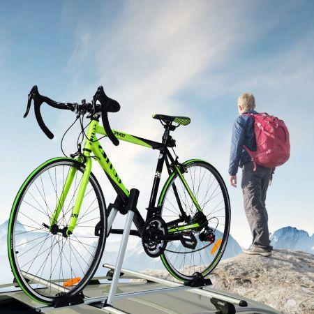 Costway Porte-Vélo pour Barres de Toit en Aluminium Noir avec Verrou Antivol pour 1 Vélo