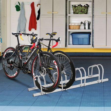 Costway Râtelier 4 Vélos Porte Vélos Sol en Acier Fixation Sol ou Mur 120x32,5x26CM Antirouille
