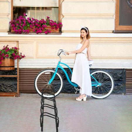 Costway Râtelier pour 5 Vélo en Acier Revêtu Fixation au Sol ou au Mur pour Extérieur et Intérieur 150 x 32,5 x 26CM Noir