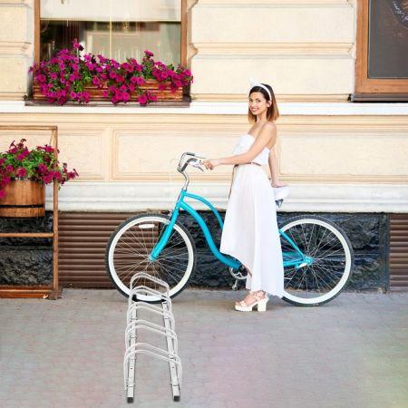 Costway Râtelier pour 5 Vélo en Acier Revêtu Fixation au Sol ou au Mur pour Extérieur et Intérieur 150 x 32,5 x 26CM Argent