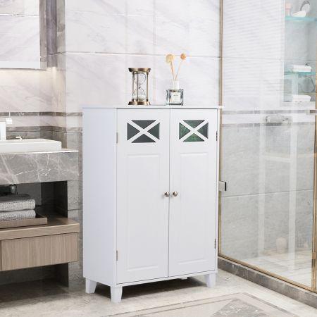 Costway Meuble de Salle de Bain avec 3 Étagères à Hauteur Réglable Armoire de Rangement Laquée Non Toxique Blanc