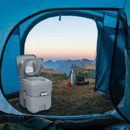 Costway Toilette Portable avec Réservoir de 20L Amovible et Poignée Ergonomique Toilettes de Camping Gris