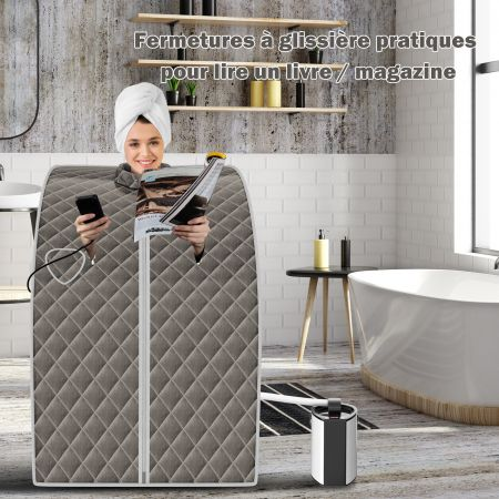 Costway Cabine de Sauna Portable Pliable 3L avec Télécommande 9 Options de Minuterie Fonction de Vaporisation Ultra Fine