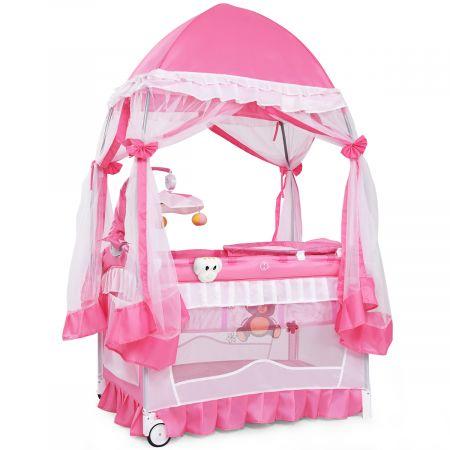 Lit bébé parapluie pliant lit de voyage pour bébé 2 niveaux muni de moustiquaire de yourte et porte-couche