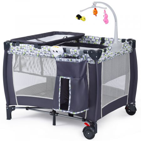 Lit bébé parapluie pliant lit de voyage pour bébé gris muni de crochet de jouets et sac à langer