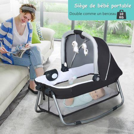 Costway 4 en 1 Lit Parapluie pour Bébé 0-36 Mois Centre Musical et Sac de transport 103 x 72,5 x 73,5cm Gris