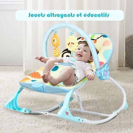 Costway 2 en 1 Transat pour Bébés 0-36 Mois Jusqu' à 18KG avec 2 Mode de Vibration Angle Ajustable Bleu