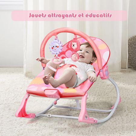 Costway 2 en 1 Transat pour Bébés 0-36 Mois Jusqu' à 18KG avec 2 Mode de Vibration Angle Ajustable Rose