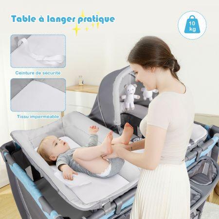 Costway Lit Pliable pour Bébé 4-en-1 à 2 Niveaux avec Roues Berceau et Table à Langer Charge Max 15KG Bleu