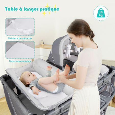 Costway Lit Pliable pour Bébé 4-en-1 à 2 Niveaux avec Roues Berceau et Table à Langer Charge Max 15KG Gris
