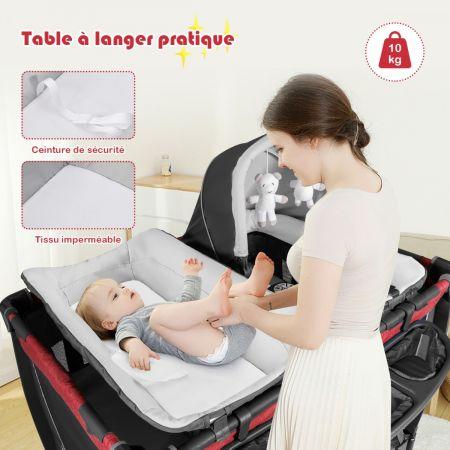 Costway Lit Pliable pour Bébé 4-en-1 à 2 Niveaux avec Roues Berceau et Table à Langer Charge Max 15KG Rouge